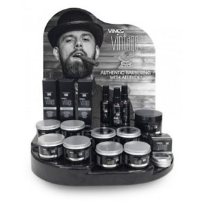 Osmo Vines Barber Display Stand Deal - Vines Vintage Kit: 3x Fiber Pomade 125mL, 3x Matt Pomade 125 mL, 3x Maxi-Gum 125 mL, 3x Maxi-Gum 300 mL, 3x Shaving Cream 125mL, 3x Beard Oil 100 mL, 3x Moustache Wax 25 mL